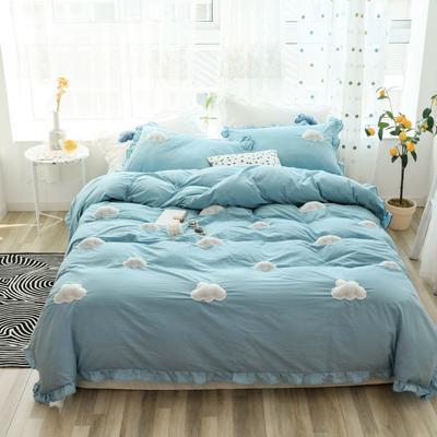 2019新款-水洗棉云朵四件套 床单款三件套1.2m(4英尺)床 蓝
