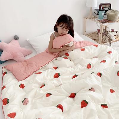 2019新款-60s支长绒棉大豆儿童冬被被子被芯 春秋被150x200cm3.3斤 草莓