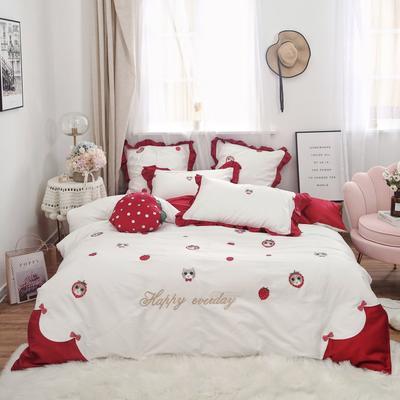 2019新款-秋冬新品60长绒棉四件套 床单款四件套1.5m(5英尺)床 猫咪小姐
