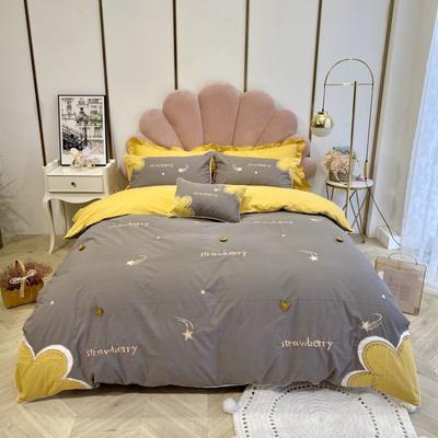 2020新款-甜草莓全棉水洗棉四件套 床单款三件套1.2m(4英尺)床 可爱灰
