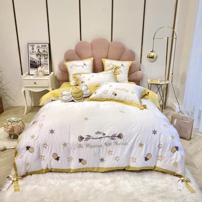 2020新款-菠萝蜜语60天丝四件套 床单款1.5m(5英尺)床 菠萝蜜语