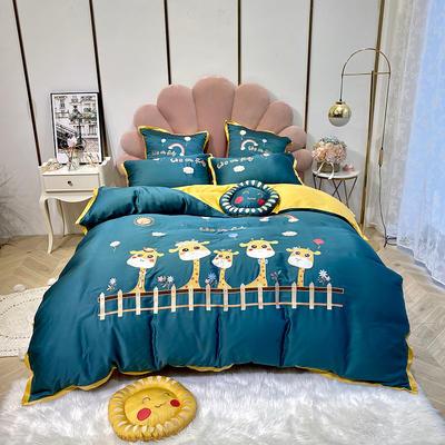 2020新款-小鹿庄园60天丝四件套 床单款三件套1.2m(4英尺)床 小鹿庄园