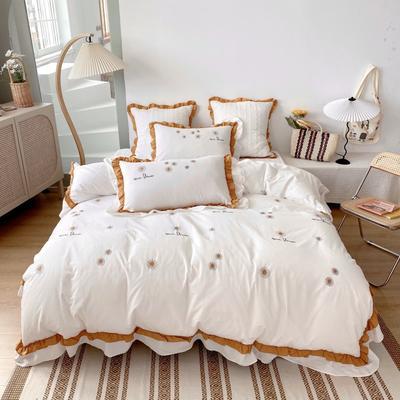 2020新款-雏菊花水洗棉四件套 1.2m夹棉床笠款三件套 奶白