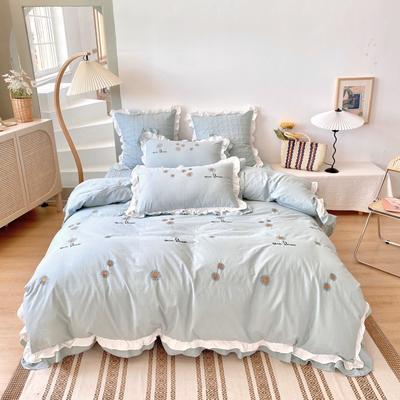 2020新款-雏菊花水洗棉四件套 1.2m夹棉床笠款三件套 青绿