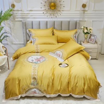 2020新款新中式国潮系列长绒棉四件套 1.8m床单款四件套 东方神韵-日光黄