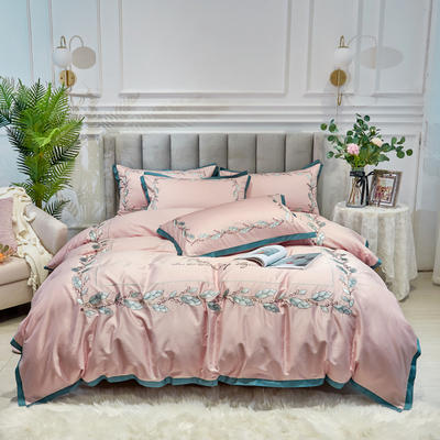 2020新款新中式国潮系列长绒棉四件套 1.8m床单款四件套 叶律-桃粉