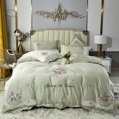 2020新款新中式国潮系列长绒棉四件套 1.8m床单款四件套 艾美-抹茶绿