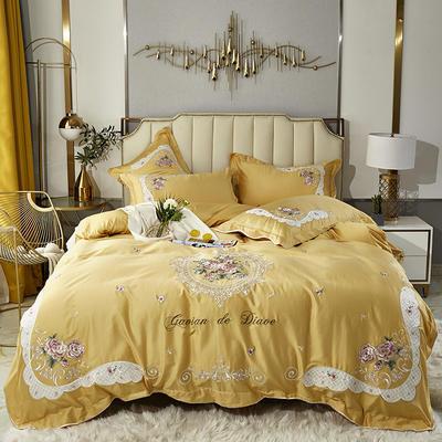 2020新款新中式国潮系列长绒棉四件套 1.8m床单款四件套 艾美-姜黄