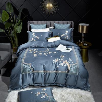 2020新款新中式国潮系列长绒棉四件套 1.8m床单款四件套 花鸟之恋-蓝