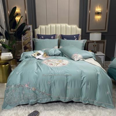 2020新款新中式国潮系列长绒棉四件套 1.8m床单款四件套 森木笙花-珊瑚蓝