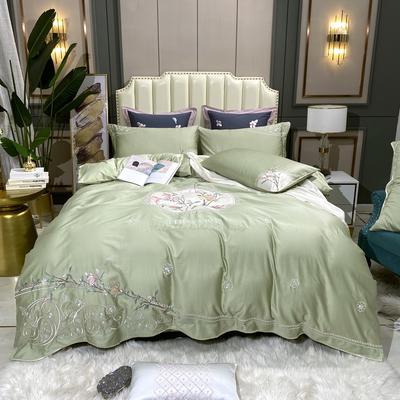 2020新款新中式国潮系列长绒棉四件套 1.8m床单款四件套 森木笙花-水绿