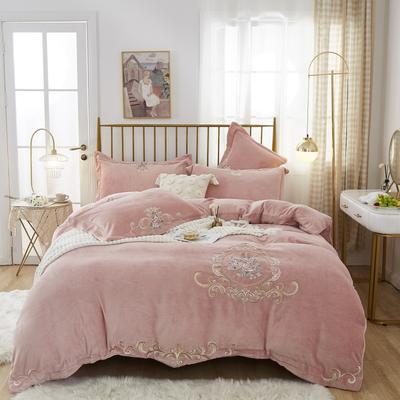 2020新款宝宝绒刺绣四件套 1.8m床单款四件套 皇室花园-粉玉
