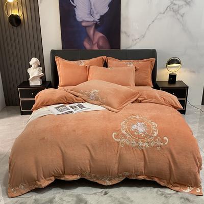 2020新款宝宝绒刺绣四件套 1.8m床单款四件套 皇室花园-桔色