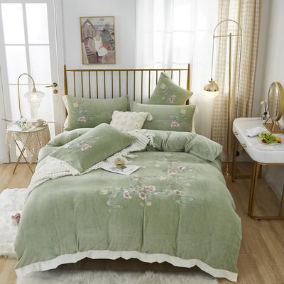 2020新款宝宝绒刺绣四件套 1.8m床单款四件套 古韵凝香-豆绿