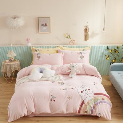 2020新款宝宝绒刺绣四件套 1.8m床单款四件套 萌小兔-粉
