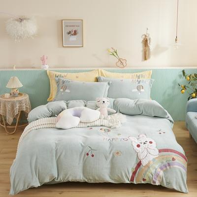 2020新款宝宝绒刺绣四件套 1.8m床单款四件套 萌小兔-抹茶绿