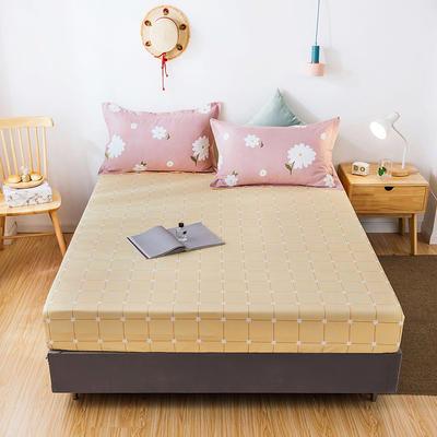 2020年新款磨毛多规格单床笠 床笠三件套 150cmx200cm单床笠 格子画+爱的花海粉枕套一对