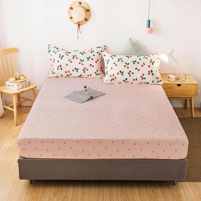 2020年新款磨毛多规格单床笠 床笠三件套 150cmx200cm单床笠 浪漫-粉+樱桃枕套一对