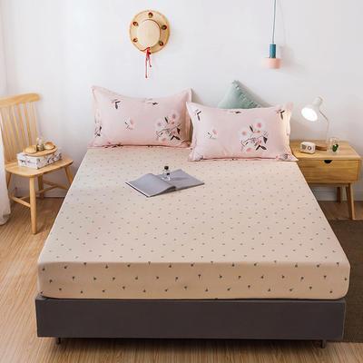 2020年新款磨毛多规格单床笠 床笠三件套 150cmx200cm单床笠 浪漫-黄+花开朵朵枕套一对