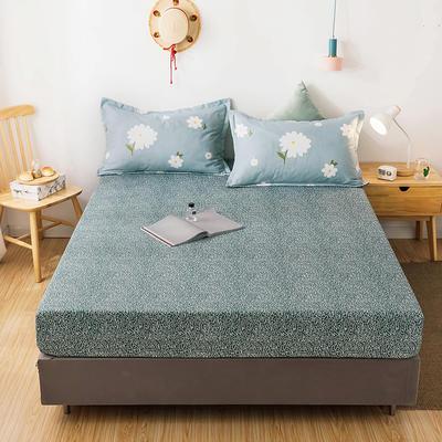 2020年新款磨毛多规格单床笠 床笠三件套 150cmx200cm单床笠 字母时代+爱的花海蓝枕套一对