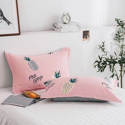 2020新款13070全棉单枕套 48cmX74cm/对 甜心菠萝-粉