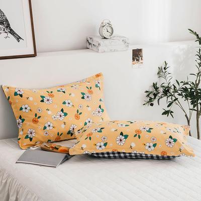 2020新款13070全棉单枕套 48cmX74cm/对 阳光小菊-黄