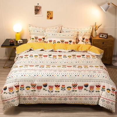 2020新款13070全棉四件套实拍图 1.2m床单款三件套 波西米亚