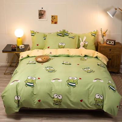 2020新款13070全棉四件套实拍图 1.2m床单款三件套 青蛙宝贝