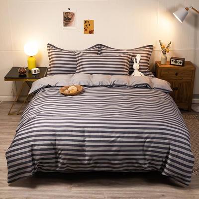 2020新款13070全棉四件套实拍图 1.2m床单款三件套 条纹拉菲