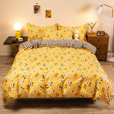 2020新款13070全棉四件套实拍图 1.2m床单款三件套 阳光小菊-黄