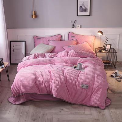 2018立体方格剪花四件套 兰紫橙家纺 1.35m(4.5英尺)床 粉色-方格