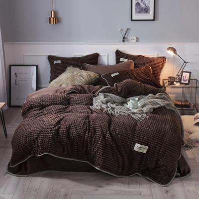 2018立体方格剪花四件套 兰紫橙家纺 1.35m(4.5英尺)床 咖啡-方格