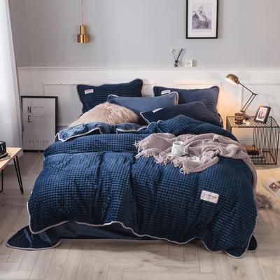 2018立体方格剪花四件套 兰紫橙家纺 1.35m(4.5英尺)床 深蓝-方格