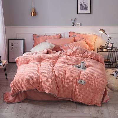 2018立体方格剪花四件套 兰紫橙家纺 1.35m(4.5英尺)床 玉色-方格