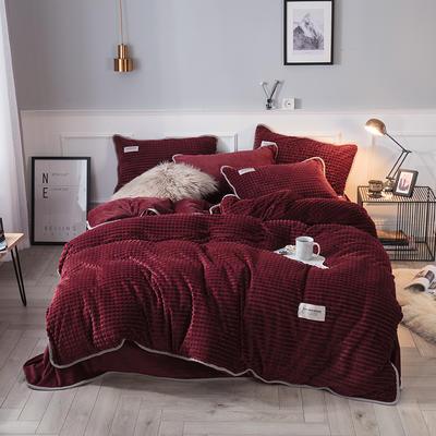 2018立体方格剪花四件套 兰紫橙家纺 1.35m(4.5英尺)床 枣红-方格