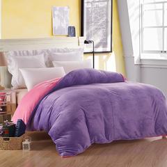 2018素色双拼法莱绒被套 150x200cm 浅紫+粉红
