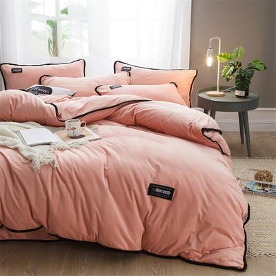 2018新款美式包边素色水晶绒四件套 兰紫橙家纺 1.5m床(床单款) 胭脂玉