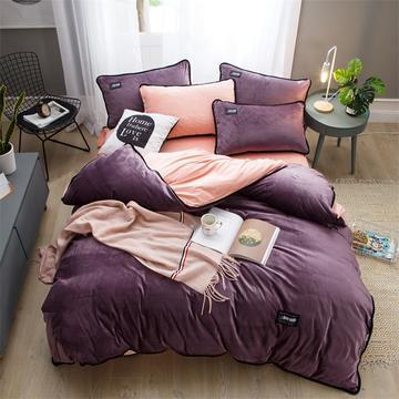 2018新款美式包边素色水晶绒四件套 兰紫橙家纺