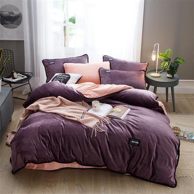 2018新款美式包边素色水晶绒四件套 兰紫橙家纺 1.5m床(床单款) 酱紫vs胭脂玉