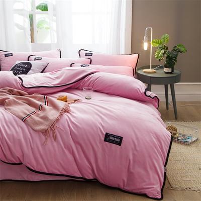 2018新款美式包边素色水晶绒四件套 兰紫橙家纺 1.8m床(床单款) 浅粉