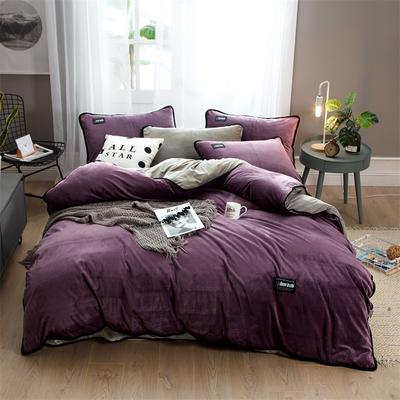 2018新款美式包边素色水晶绒四件套 兰紫橙家纺 1.5m床(床单款) 酱紫vs浅灰