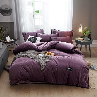 2018新款美式包边素色水晶绒四件套 兰紫橙家纺 1.8m床(床单款) 酱紫