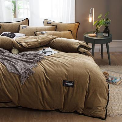2018新款美式包边素色水晶绒四件套 兰紫橙家纺 1.8m床(床单款) 驼色