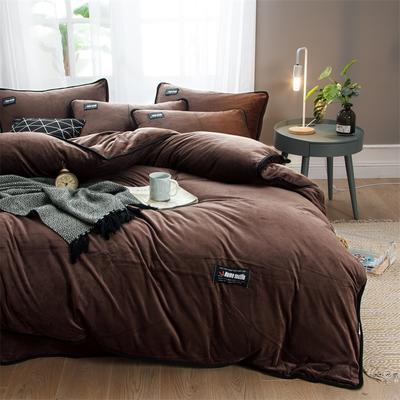 2018新款美式包边素色水晶绒四件套 兰紫橙家纺 1.8m床(床单款) 咖啡