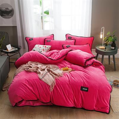 2018新款美式包边素色水晶绒四件套 兰紫橙家纺 1.8m床(床单款) 桃红