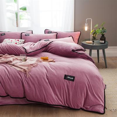 2018新款美式包边素色水晶绒四件套 兰紫橙家纺 2.0m床(床笠款) 豆沙红