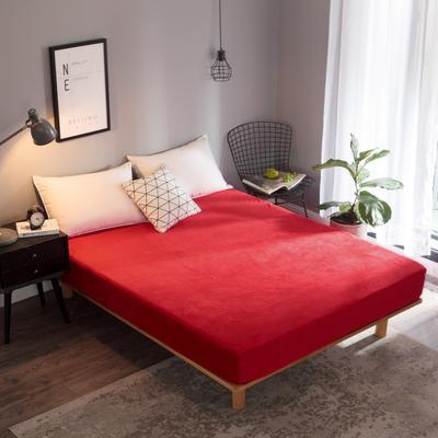 2018新款法莱绒单品床笠 120*200+25cm 大红