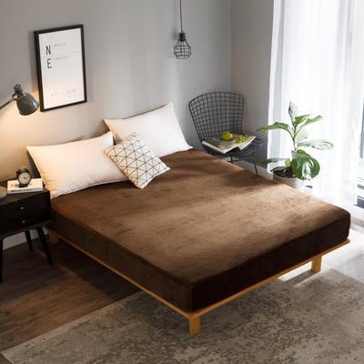 2018新款法莱绒单品床笠 120*200+25cm 咖啡