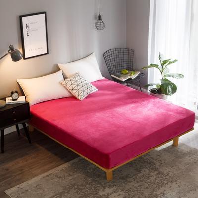 2018新款法莱绒单品床笠 120*200+25cm 玫红