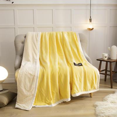 2019新贝贝绒大包边单品被套、复合毯二合一 150*200cm 鹅黄-白